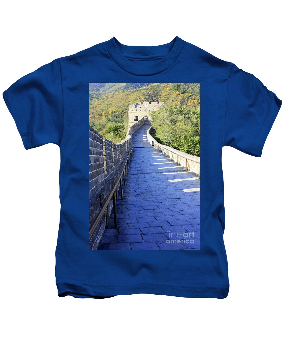 The Great Wall Of China Kids T-Shirt featuring the photograph Great Wall Pathway by Carol Groenen