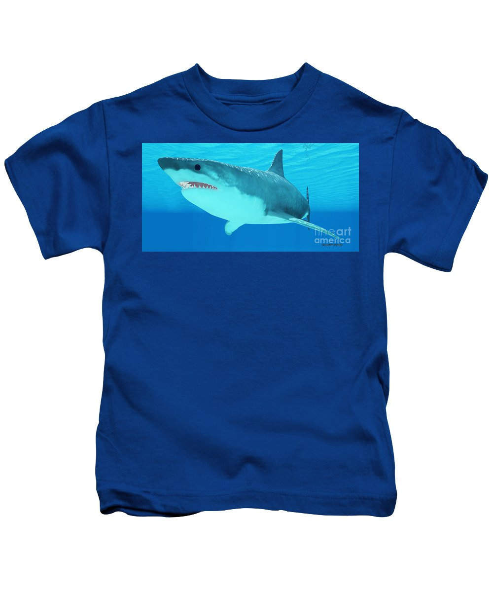 Great White Shark Kids T-Shirt featuring the painting Great White Shark Close-up by Corey Ford