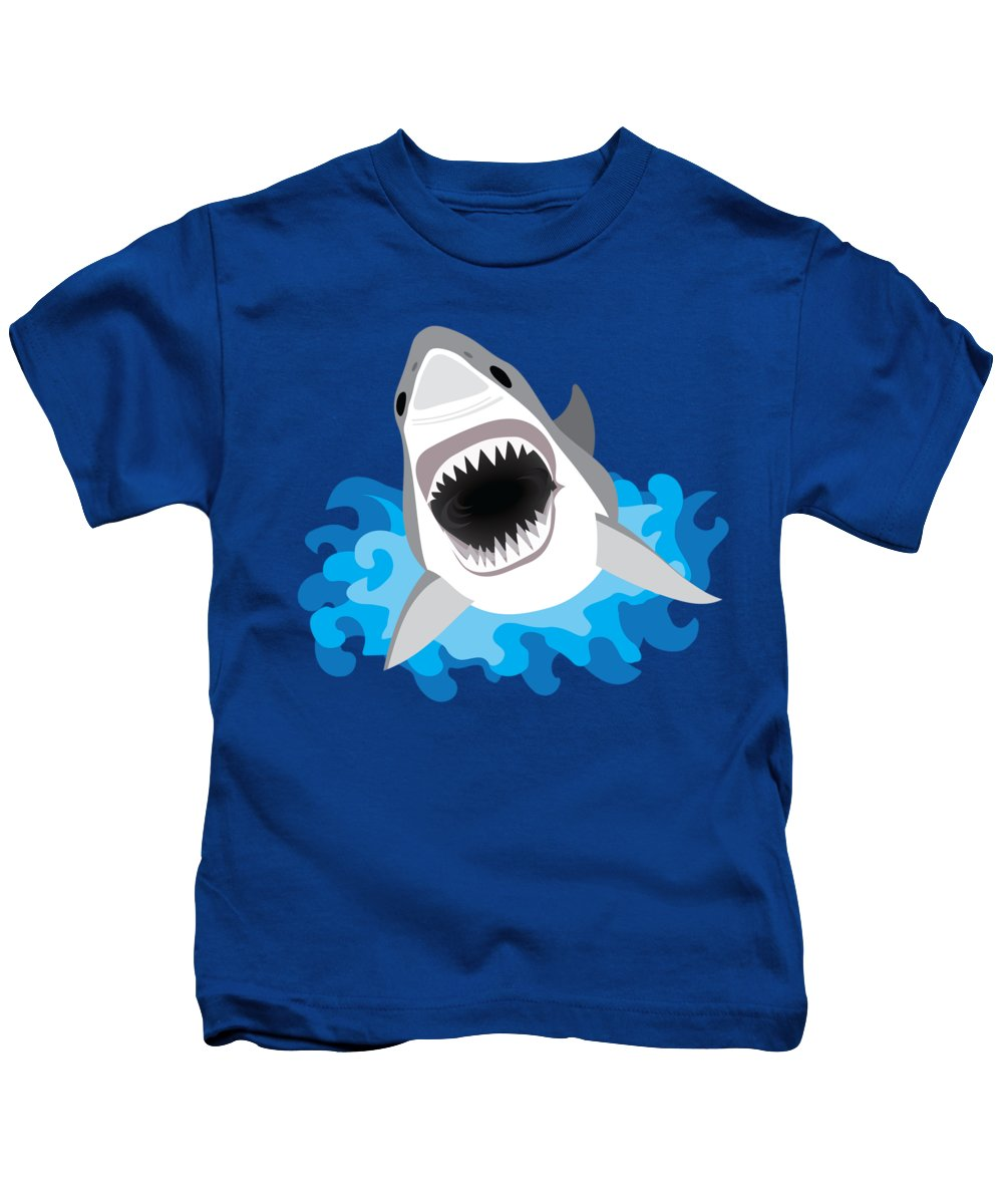 Funny Kids T-Shirt featuring the digital art Great White Shark Leaps From Waves by Antique Images