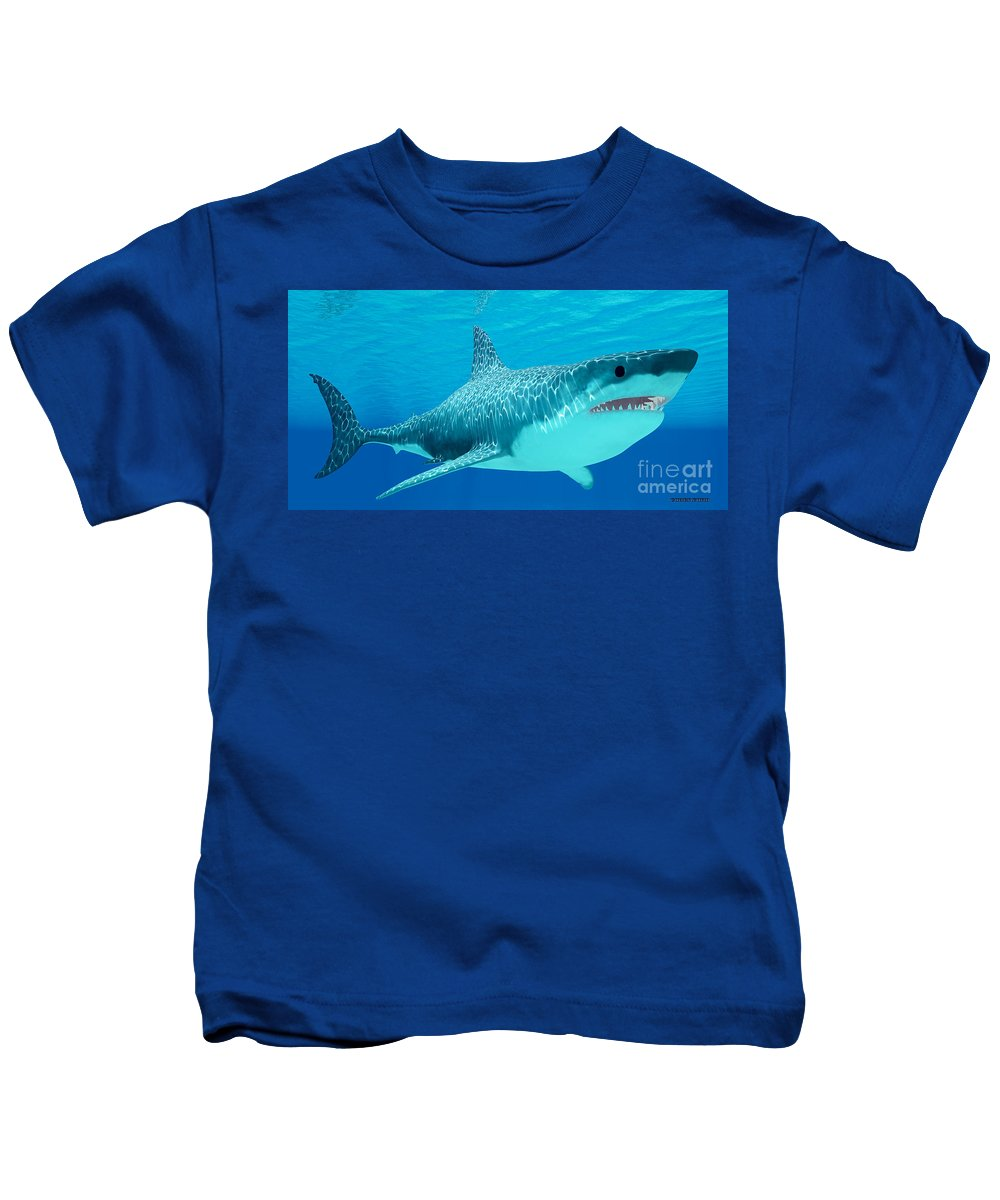 Great White Shark Kids T-Shirt featuring the painting Great White Shark Undersea by Corey Ford