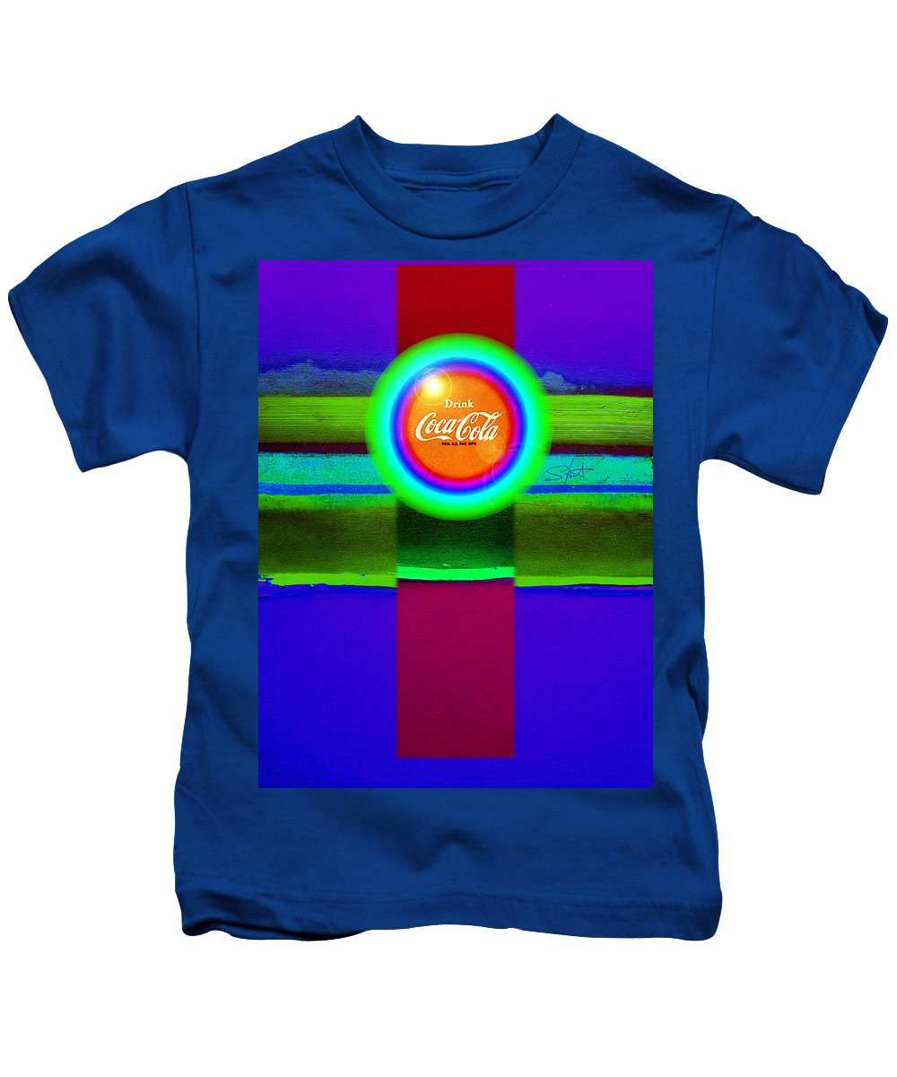 Violet Kids T-Shirt featuring the painting Green On Violet by Charles Stuart