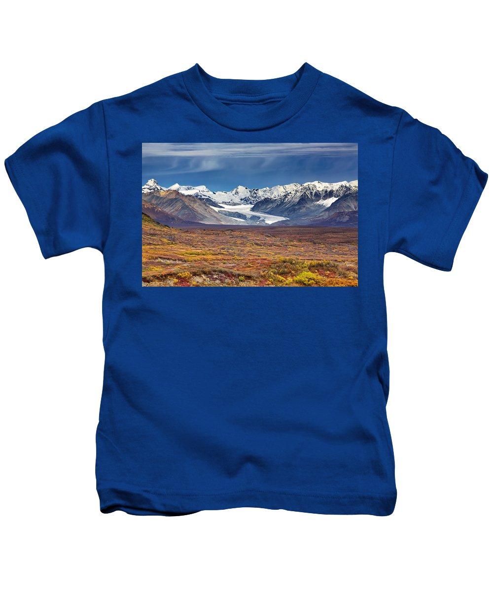 Alaska Kids T-Shirt featuring the photograph Gulkana Glacier by Ed Boudreau