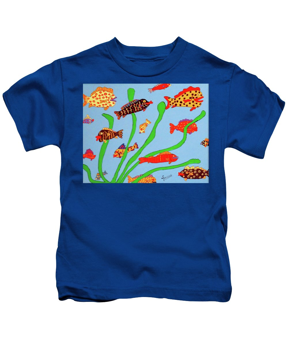 Fish Kids T-Shirt featuring the painting Happy Aquarium by Charles Spillar