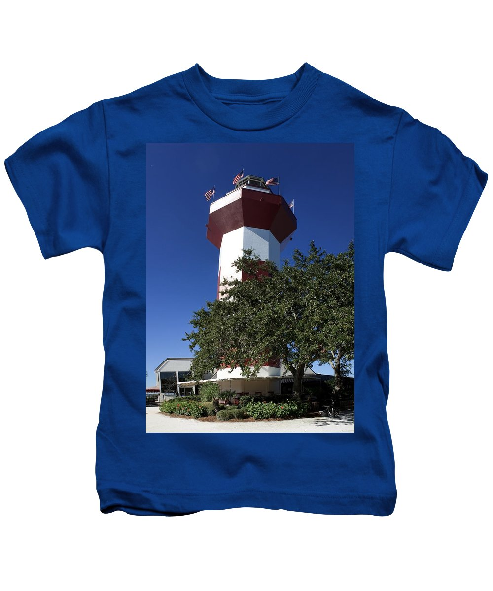 Hilton Head Kids T-Shirt featuring the photograph Harbourtown Lighthouse by Thomas Marchessault