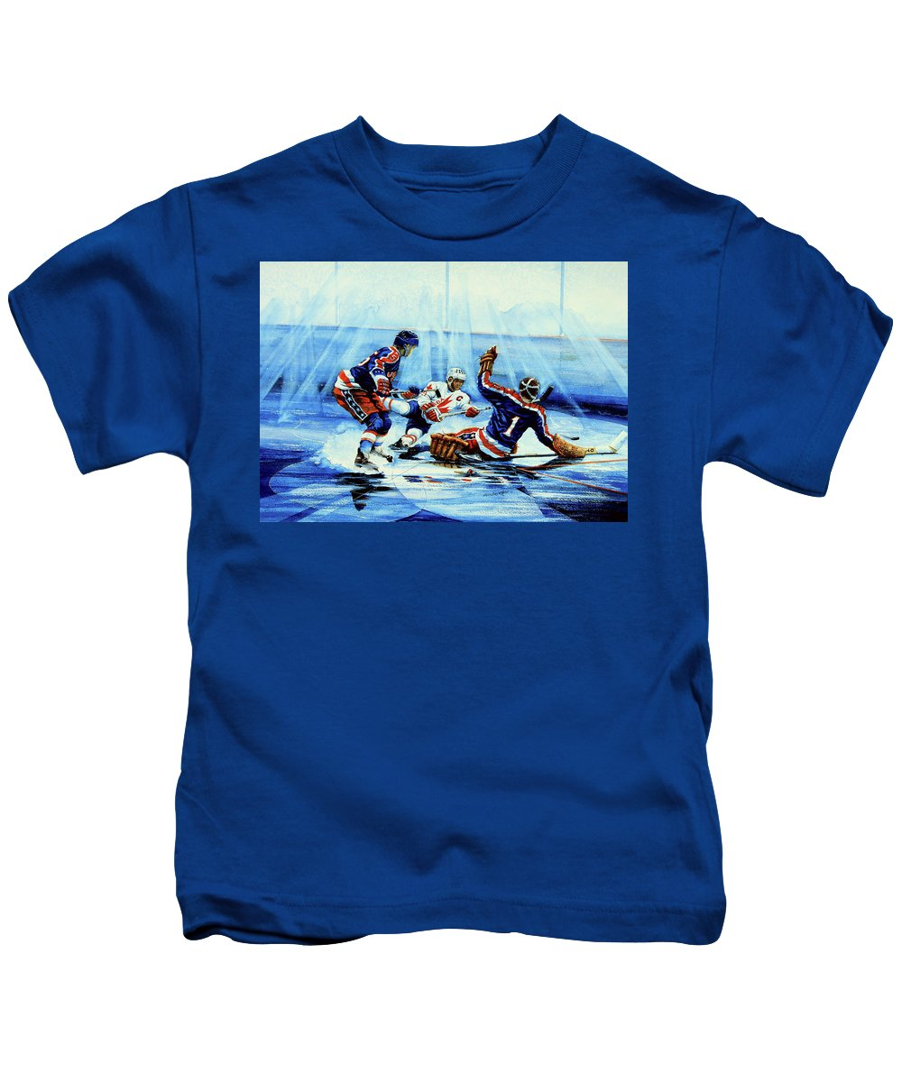 Hockey Kids T-Shirt featuring the painting He Shoots by Hanne Lore Koehler