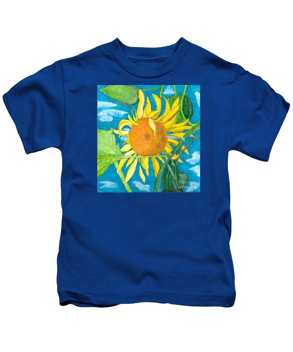 Sunflower Kids T-Shirt featuring the painting Hello Sunshine by Teresa White