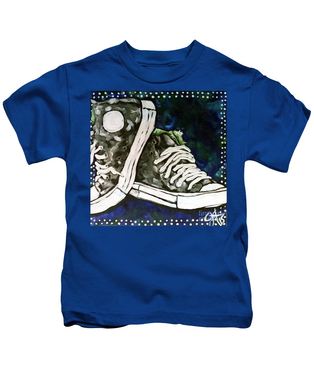 Shoes Kids T-Shirt featuring the painting High Top Heaven by Jackie Carpenter