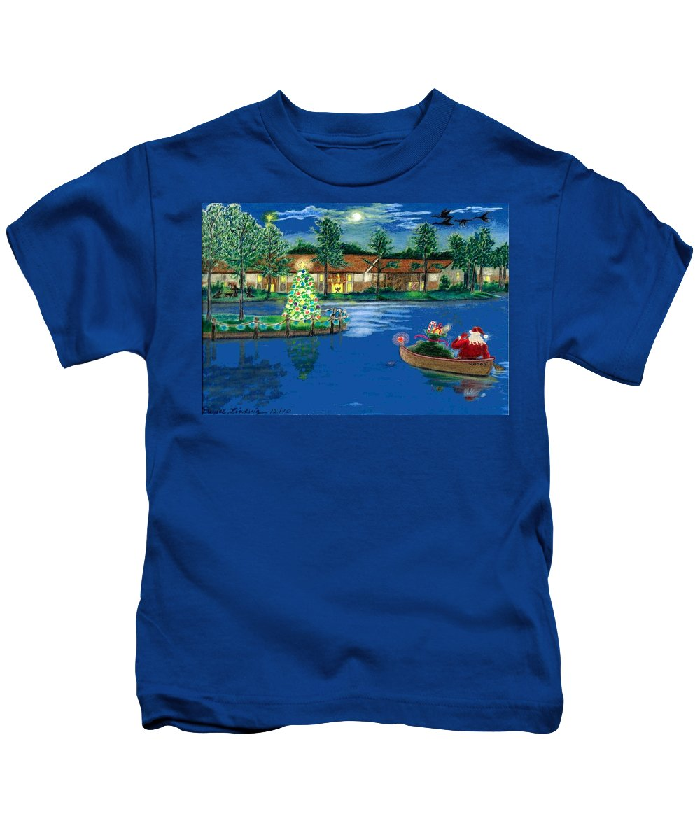 Christmas Kids T-Shirt featuring the drawing Holiday Delivery At Whisper Lake by Daniel Lindvig