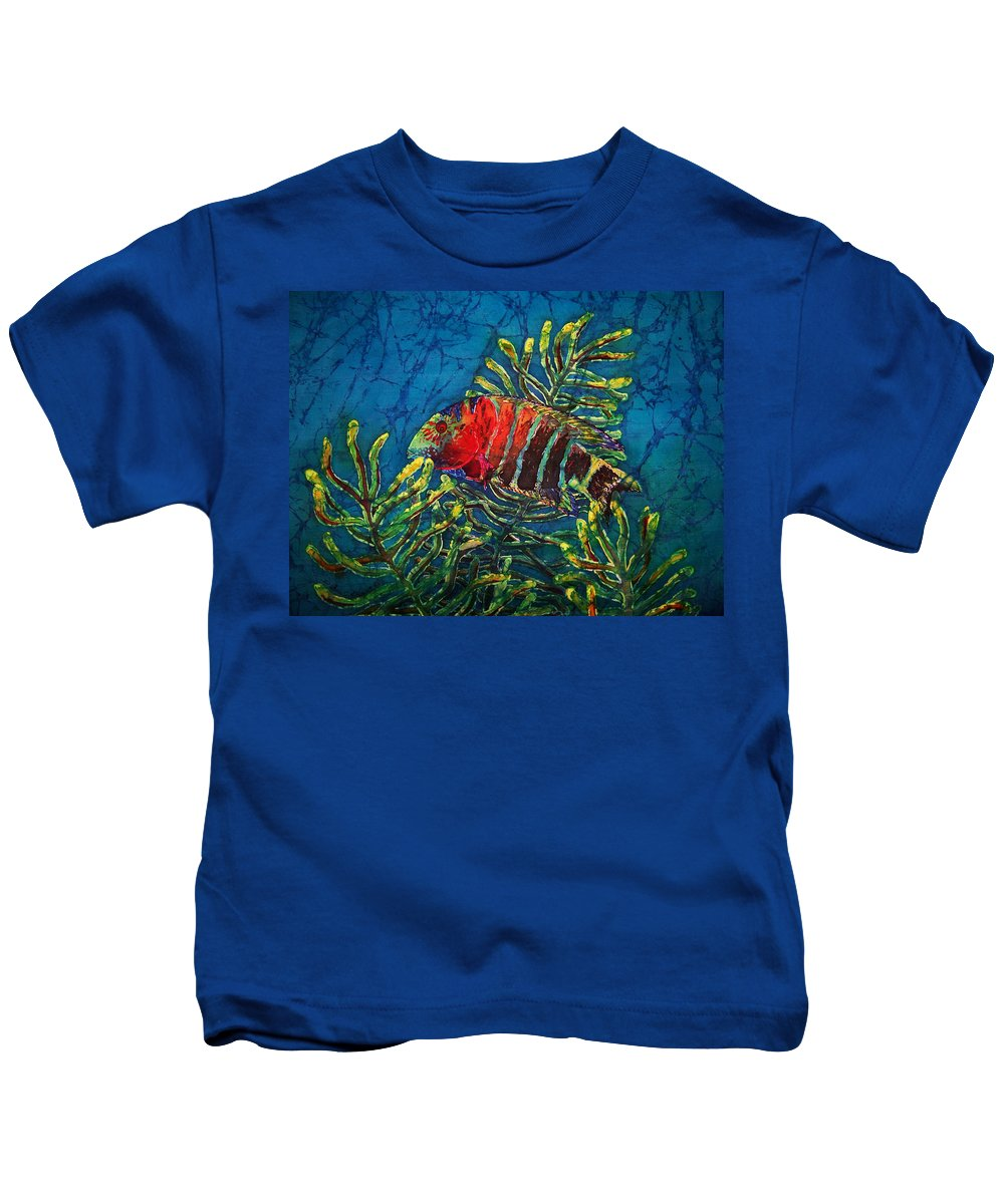 Fish Kids T-Shirt featuring the painting Hovering - Red Banded Wrasse by Sue Duda