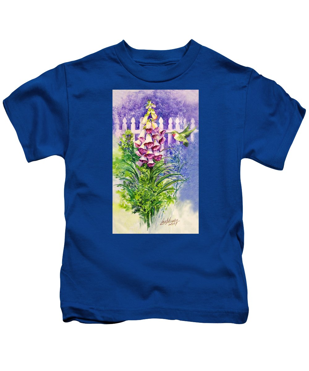 Bird;hummingbird;foxgloves;flowers;floral;fence;picket Fence;impressionistic;watercolor;painting; Kids T-Shirt featuring the painting Hummingbird In Foxgloves by Lois Mountz