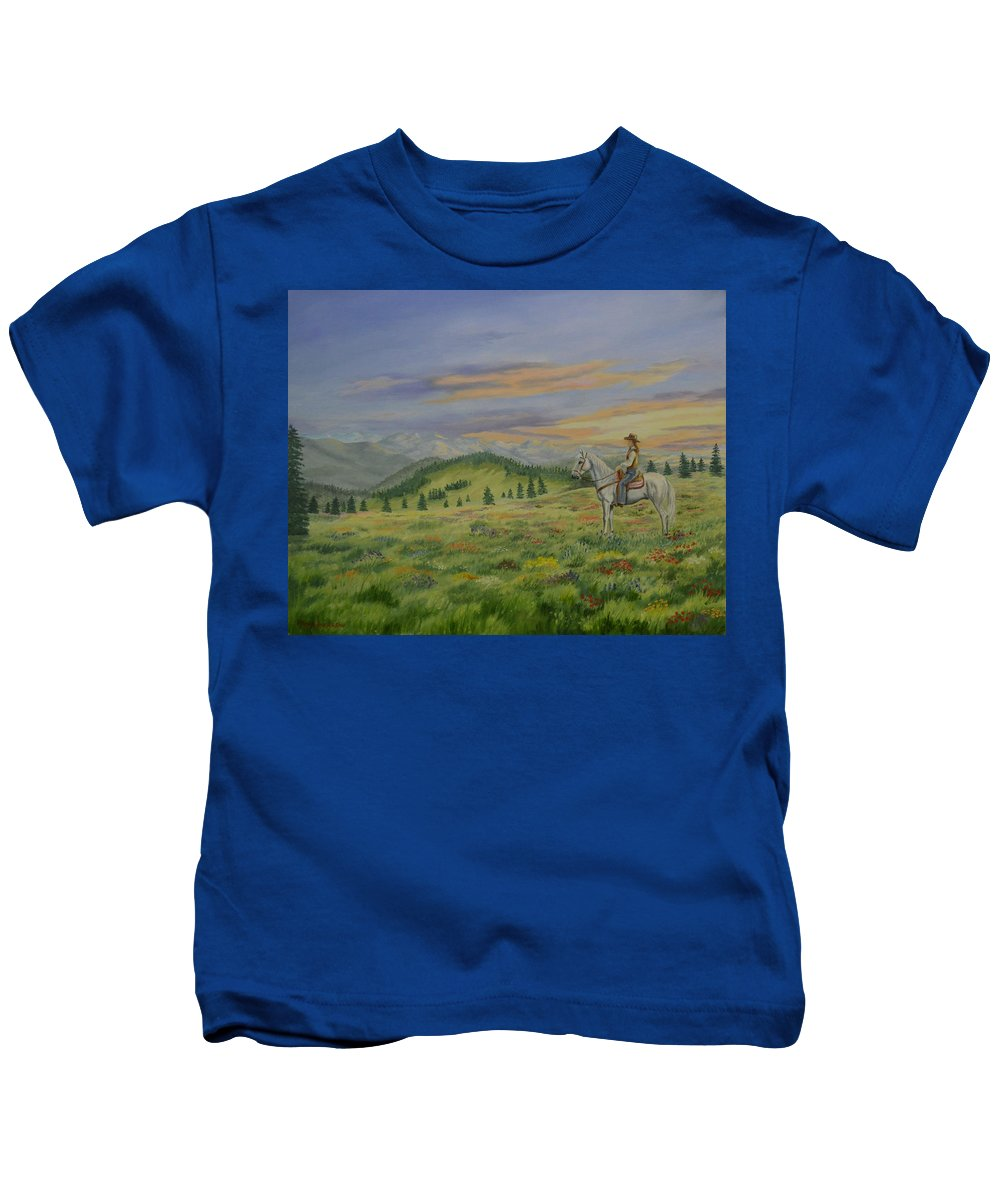 Horse Kids T-Shirt featuring the painting I Feel So Small by Wanda Dansereau