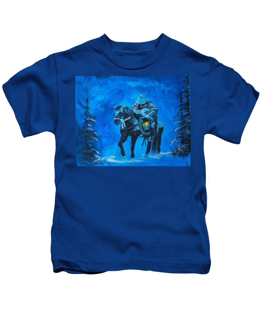 Cowboy Painting Kids T-Shirt featuring the painting I Will Carry You by Leslie Allen