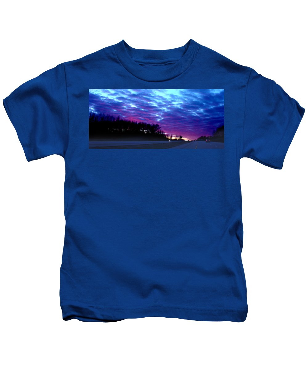 Landscape Kids T-Shirt featuring the photograph I70 West Ohio by Steve Karol