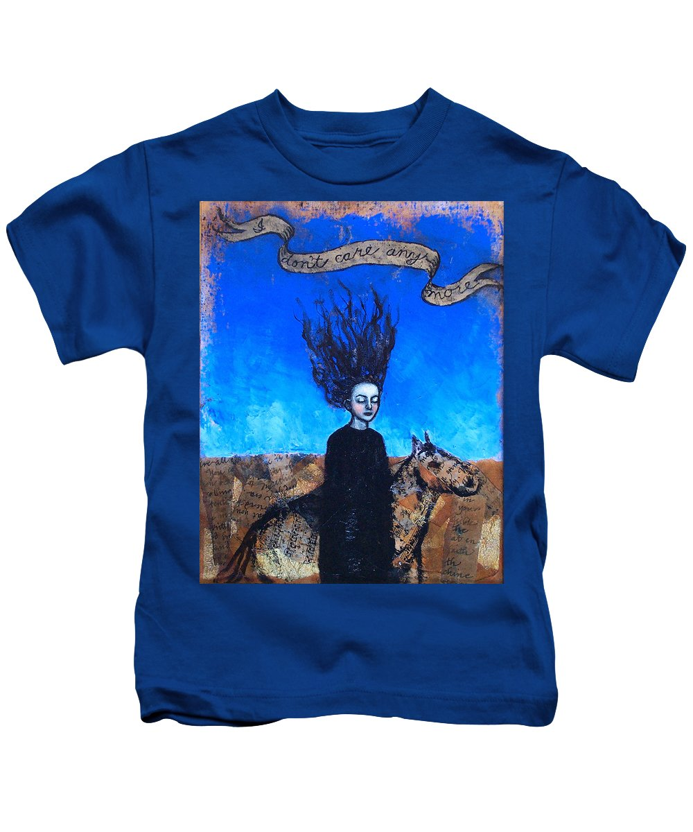 Kids T-Shirt featuring the painting IDontCareAnymore by Pauline Lim
