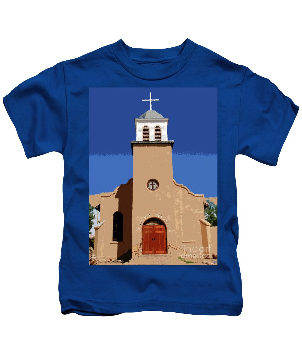Art Kids T-Shirt featuring the painting Iglesia San Jose 1922 by David Lee Thompson