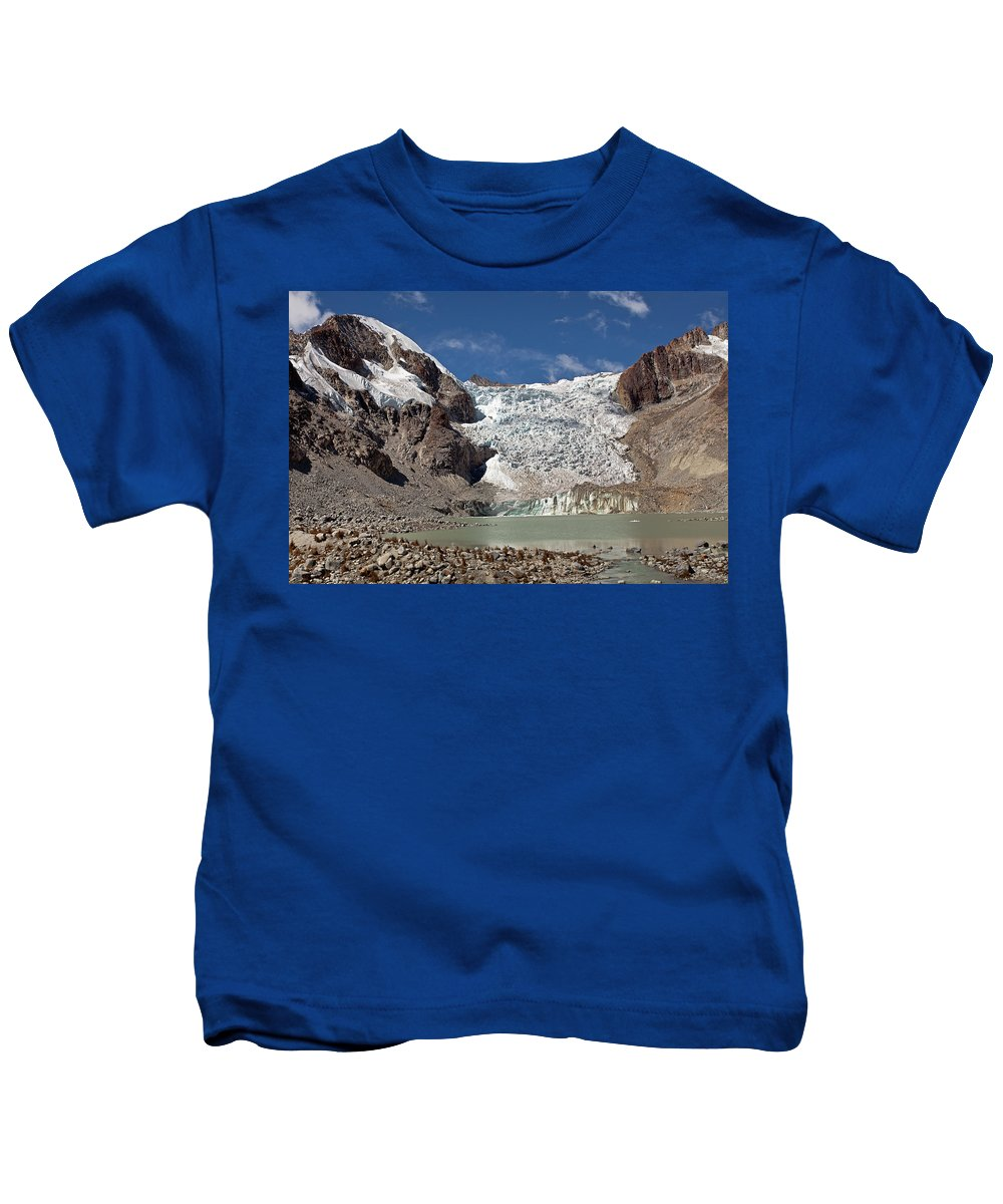 Illampu Kids T-Shirt featuring the photograph Illampu Glacier Lake Or Laguna Glacial by Aivar Mikko