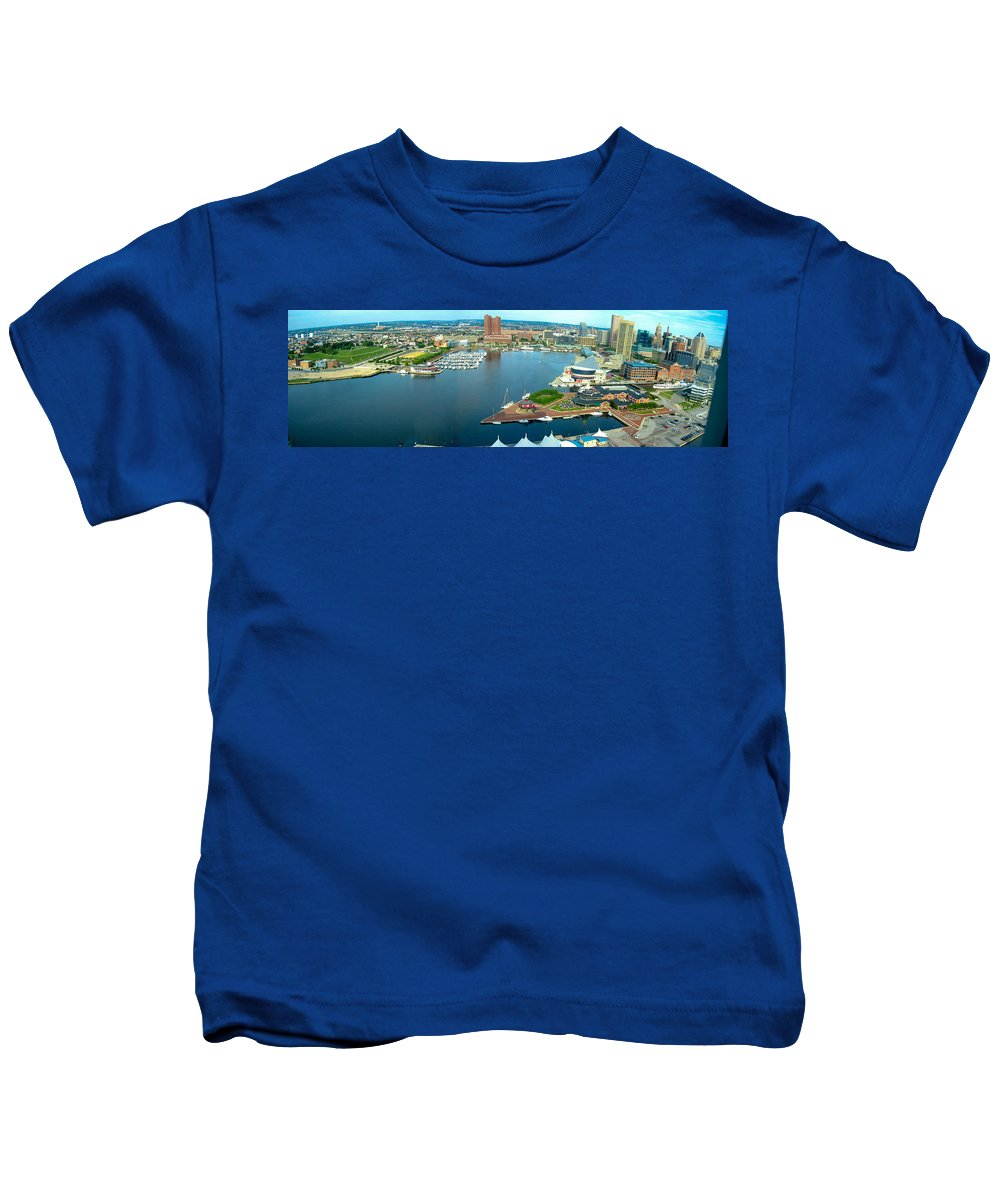 Baltimore Kids T-Shirt featuring the photograph Inner Harbor Baltimore Panorama by Thomas Marchessault