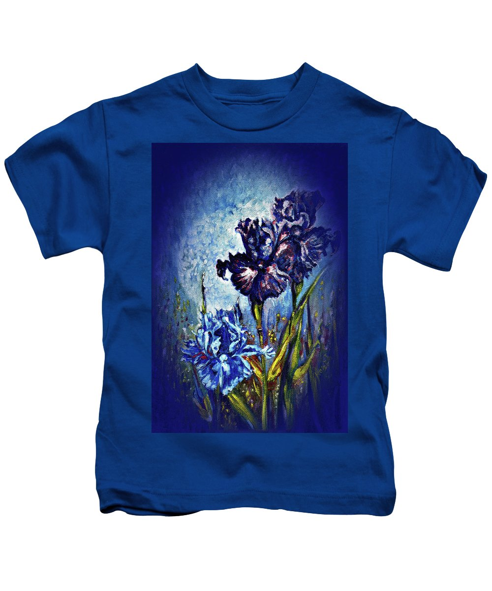 Flowers Kids T-Shirt featuring the painting Iris by Harsh Malik