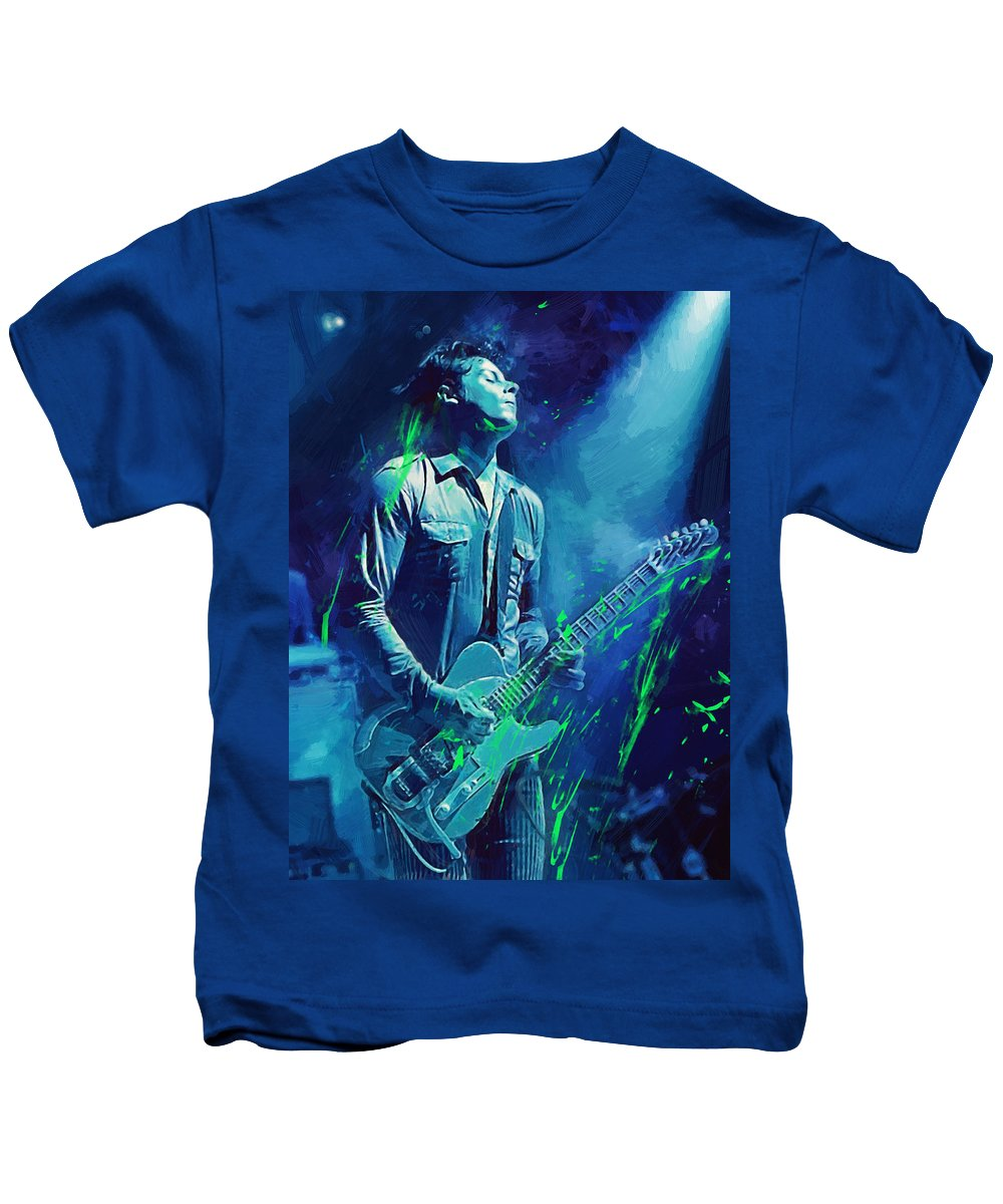Jack White Kids T-Shirt featuring the digital art Jack White by Afterdarkness