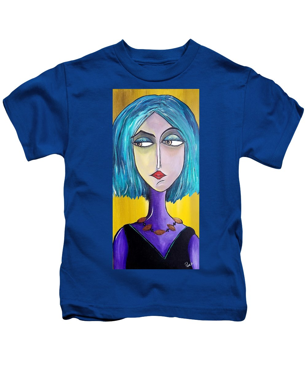 Girl Kids T-Shirt featuring the painting Jade by Sheli Paez