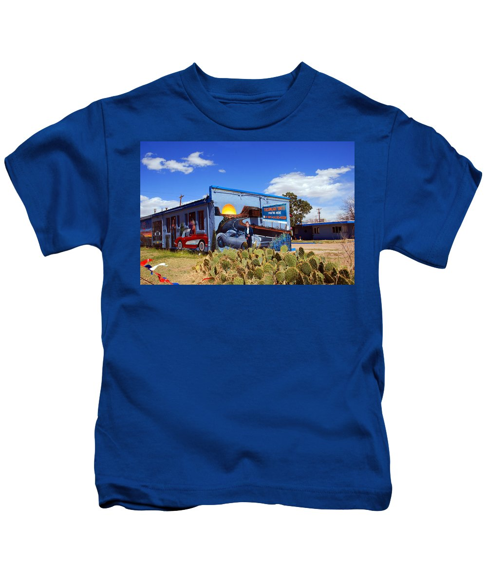 Route 66 Kids T-Shirt featuring the photograph James Dean Was Here Too by Susanne Van Hulst