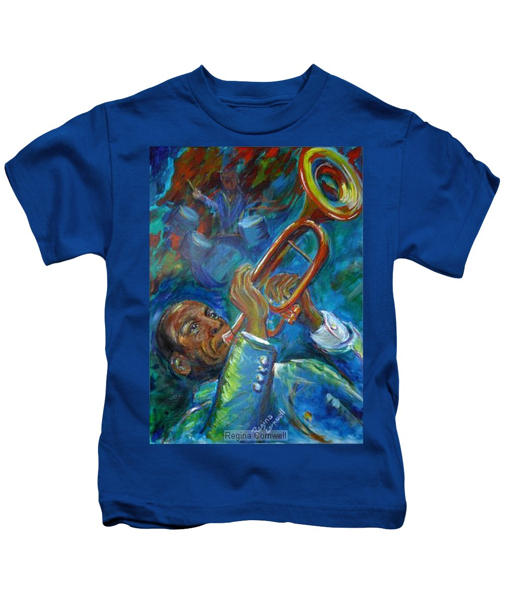 Jazz Kids T-Shirt featuring the painting Jazz Man by Regina Walsh