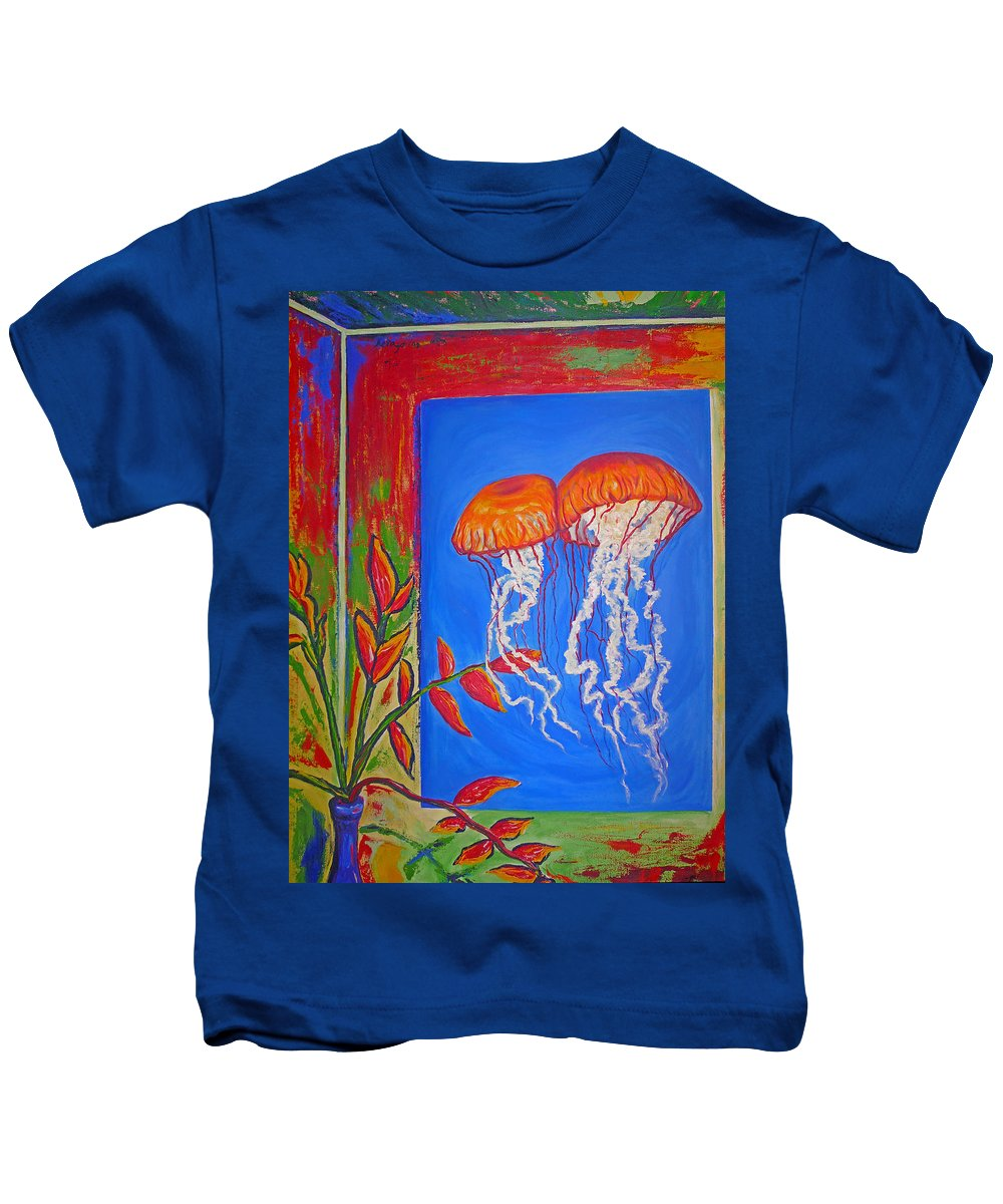 Jellyfish Kids T-Shirt featuring the painting Jellyfish With Flowers by Ericka Herazo