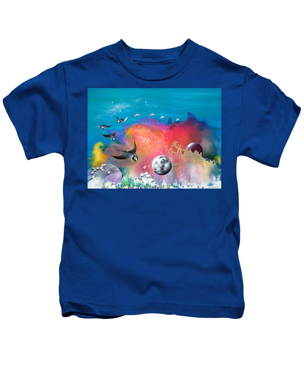 Beach House Kids T-Shirt featuring the painting Journey To The Snow Coral by Lee Pantas