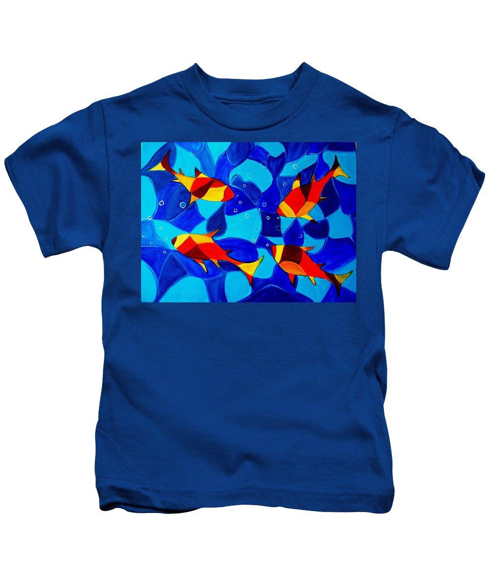 Abstract.acrylic.fish.bubbles.art.painting.modern.contemporary.popblue Red Bubbles Yellow Landscape Kids T-Shirt featuring the painting Joy Fish Abstract by Manjiri Kanvinde