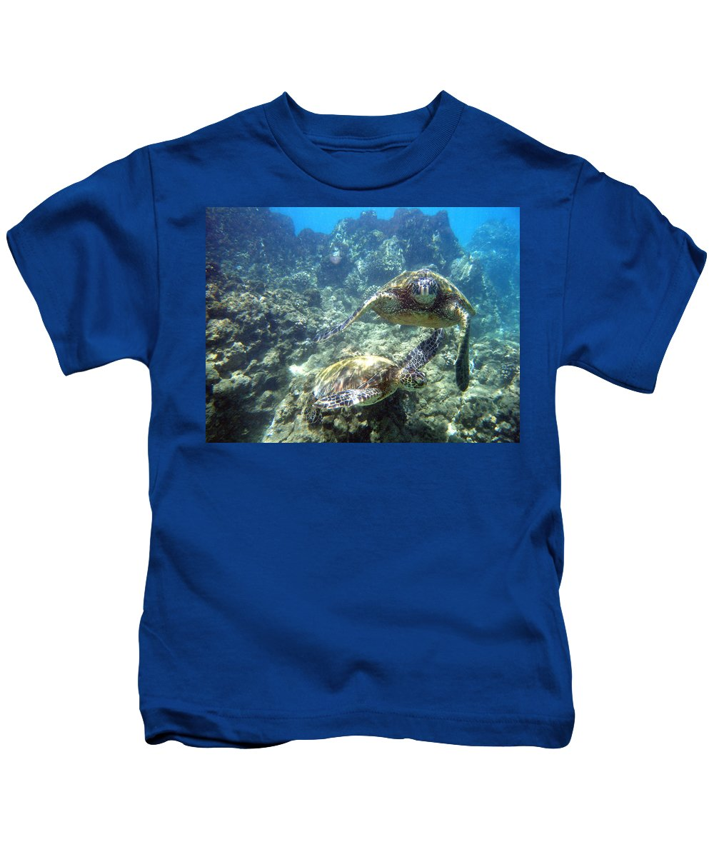 Sea Turtles Kids T-Shirt featuring the photograph Just The Two Of Us by Angie Hamlin