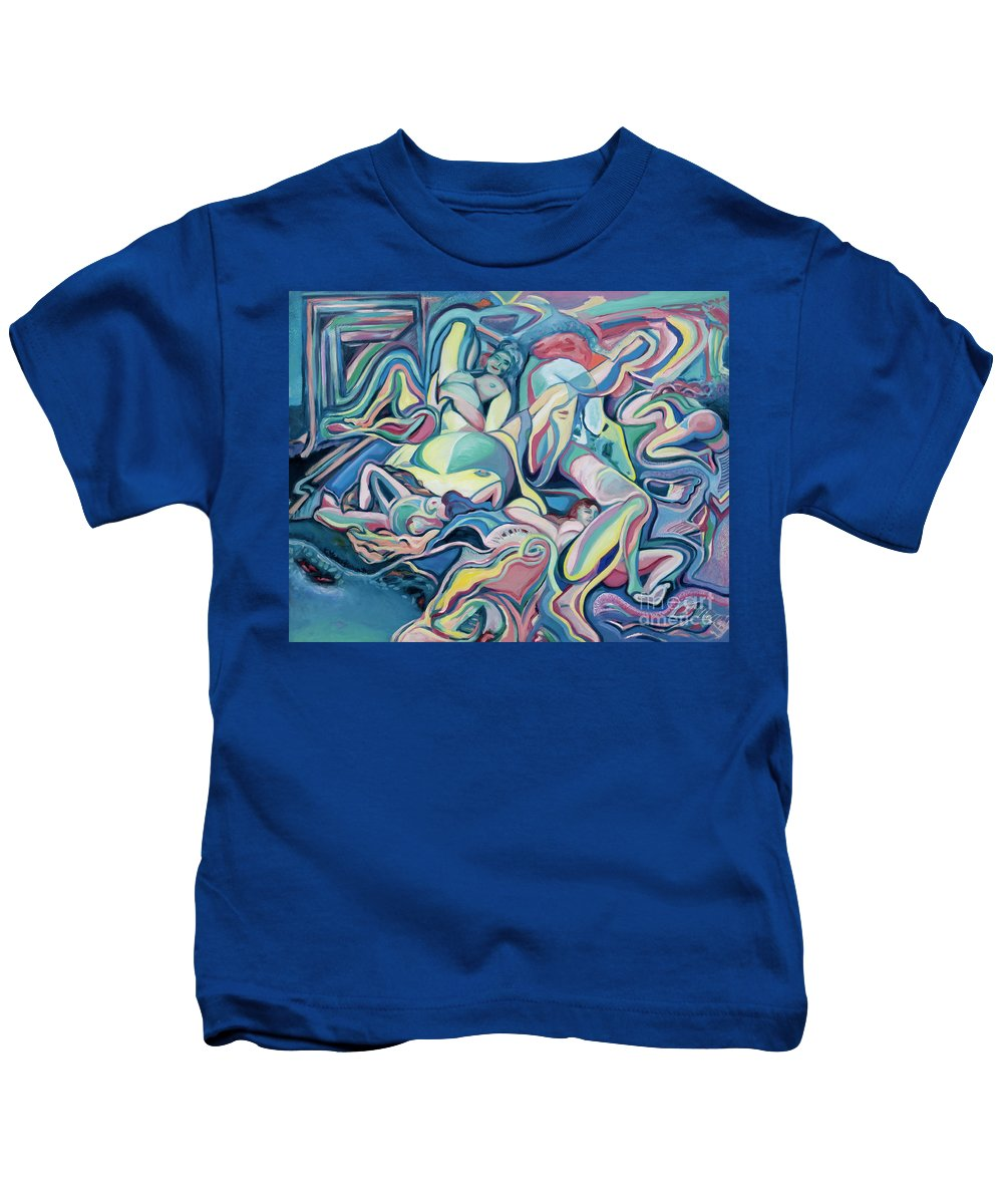 Female Kids T-Shirt featuring the painting Juxtapositions by Kerryn Madsen-Pietsch