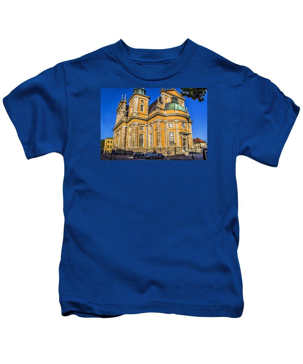 Kalmar Kids T-Shirt featuring the photograph Kalmar Cathedral Exterior by Roberta Bragan