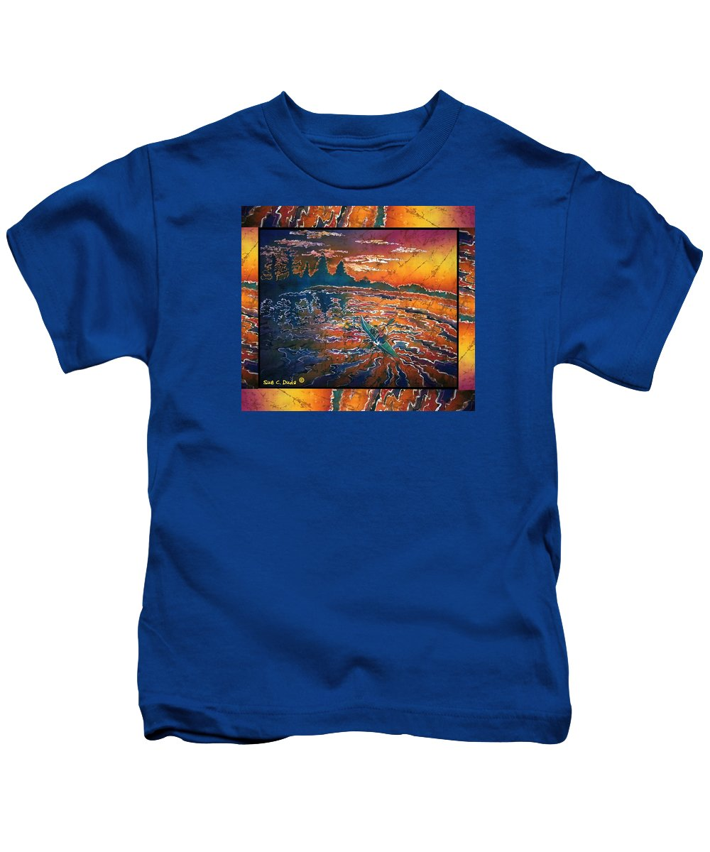 Kayak Kids T-Shirt featuring the painting Kayaking Serenity - Bordered by Sue Duda