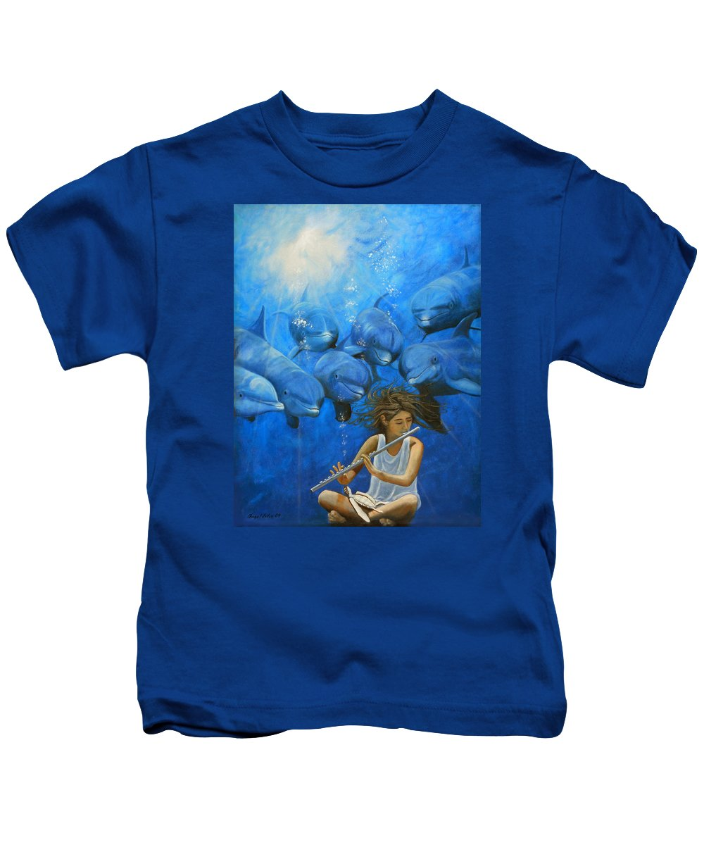 Flautista Kids T-Shirt featuring the painting La Flautista by Angel Ortiz