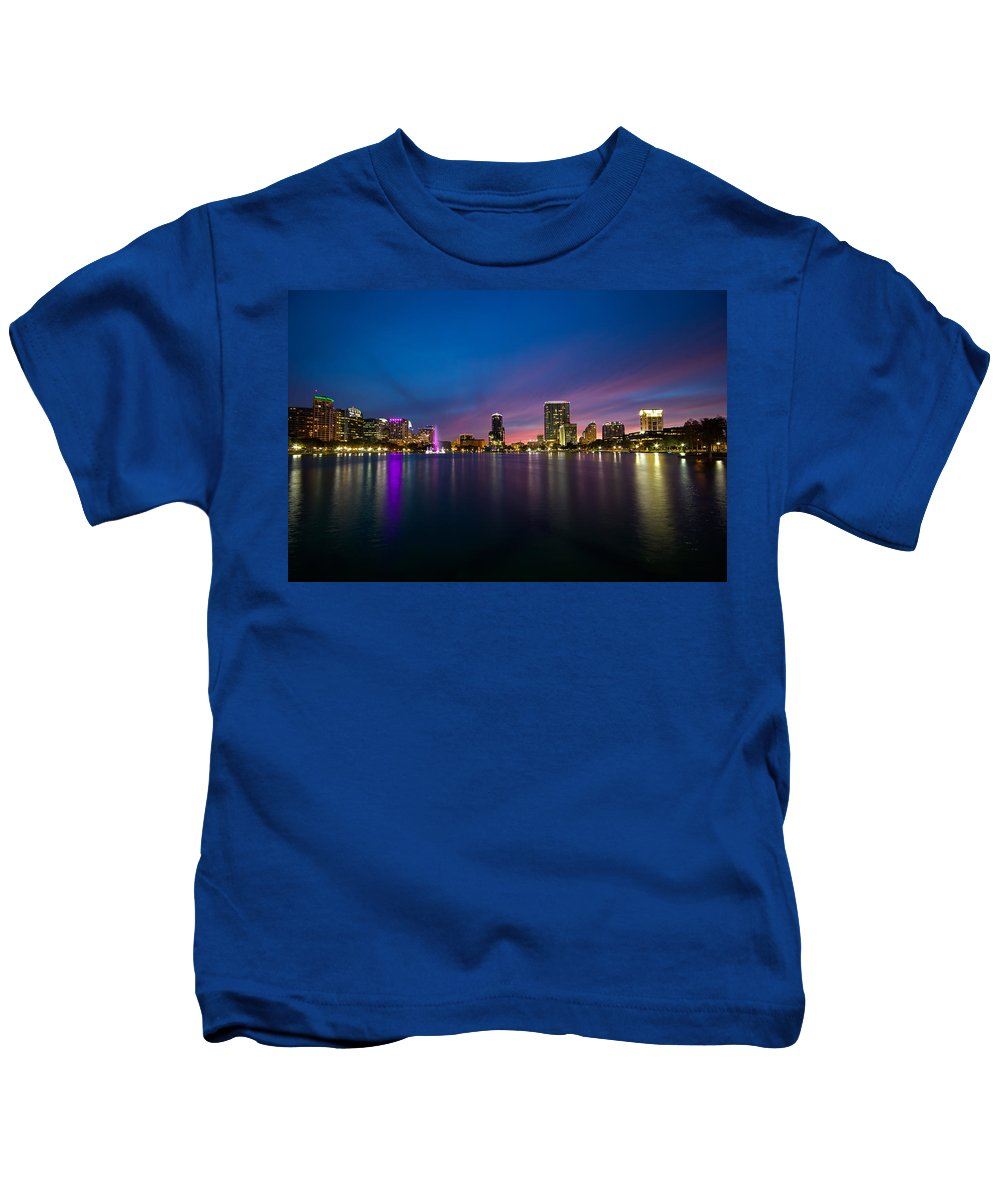 Lake Eola Kids T-Shirt featuring the photograph Lake Eola Sunset by Monica Wellman
