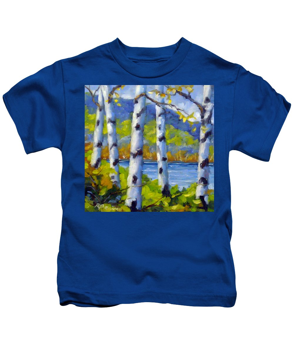 Original Painting;oil; Landscape; Birches; Trees; Nature; Richard T Pranke; Lake Kids T-Shirt featuring the painting Lake View by Richard T Pranke