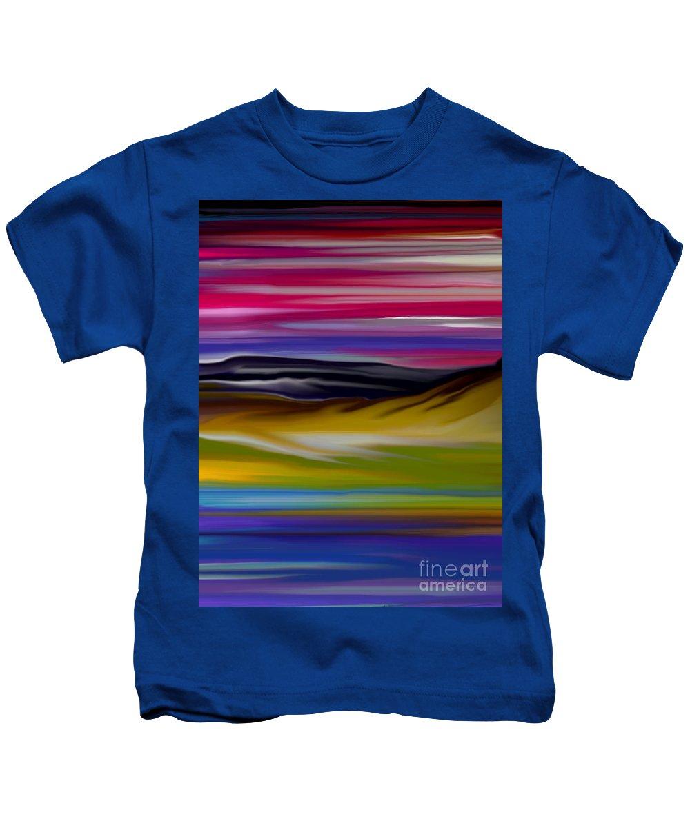 Digital Fantasy Painting Kids T-Shirt featuring the digital art Landscape 7-11-09 by David Lane