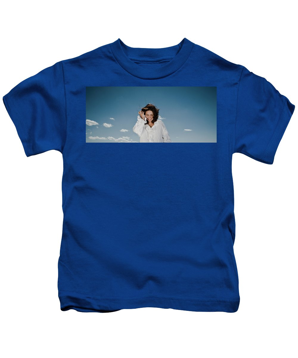 Woman Kids T-Shirt featuring the photograph Laughing Sky by Scott Sawyer
