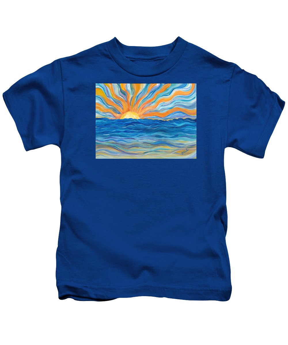 Sunrise Kids T-Shirt featuring the painting Le Soleil by Bev Veals