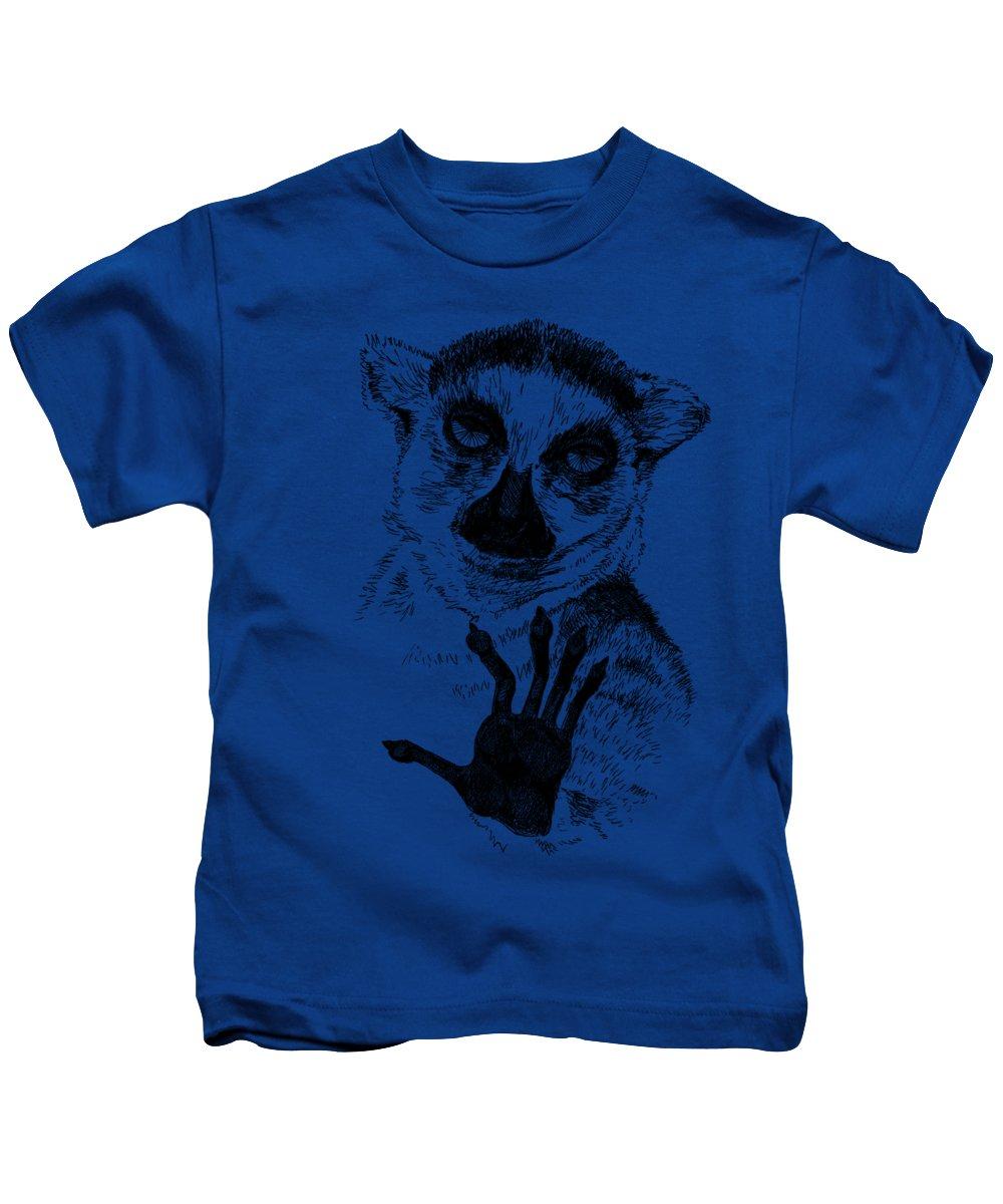 Pets Kids T-Shirt featuring the painting Lemur by Masha Batkova