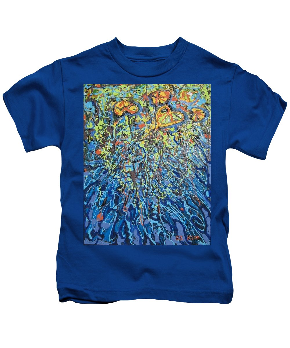 Lily Pads Paintings Kids T-Shirt featuring the painting Lily Pads Water Lily Paintings by Seon-Jeong Kim
