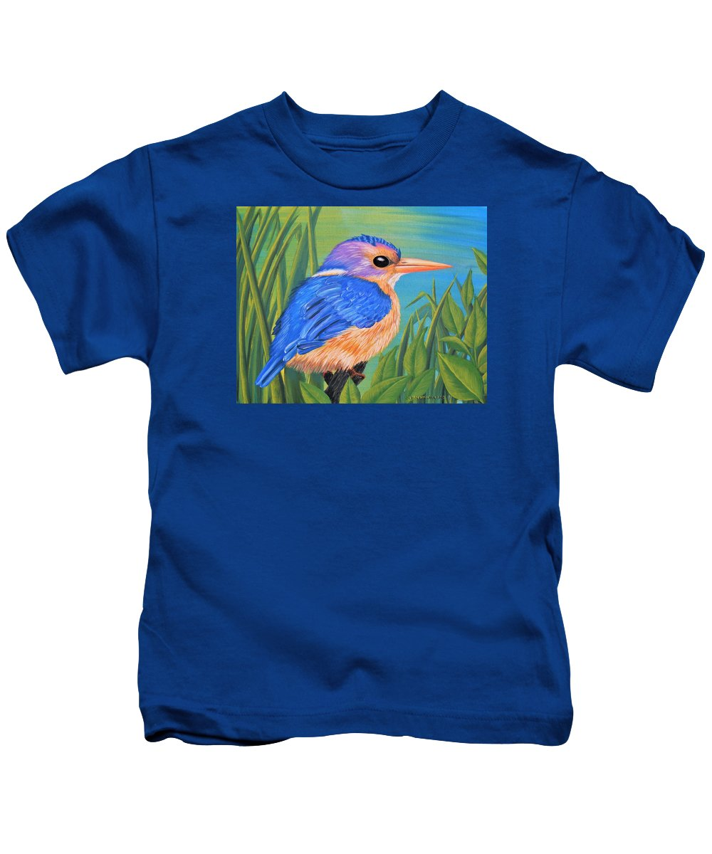 African Pygmy Kingfisher Kids T-Shirt featuring the painting Litttle King Of The Fishers by Sophia Schmierer