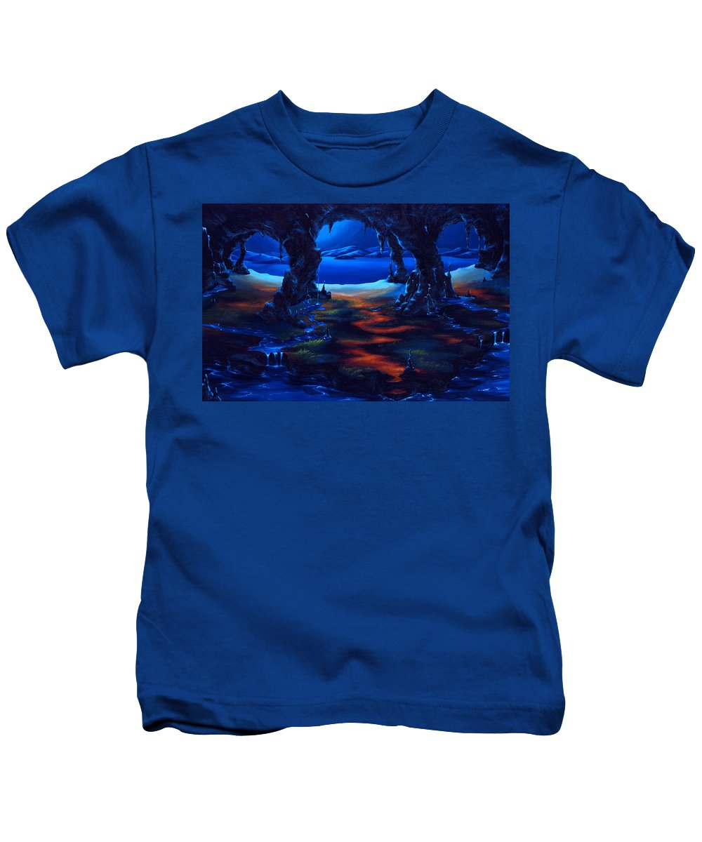 Textured Painting Kids T-Shirt featuring the painting Living Among Shadows by Jennifer McDuffie