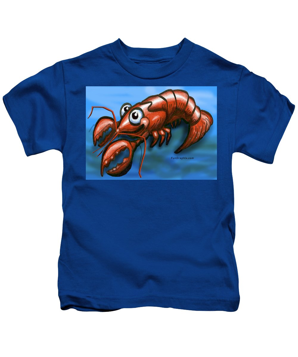 Lobster Kids T-Shirt featuring the greeting card Lobster by Kevin Middleton
