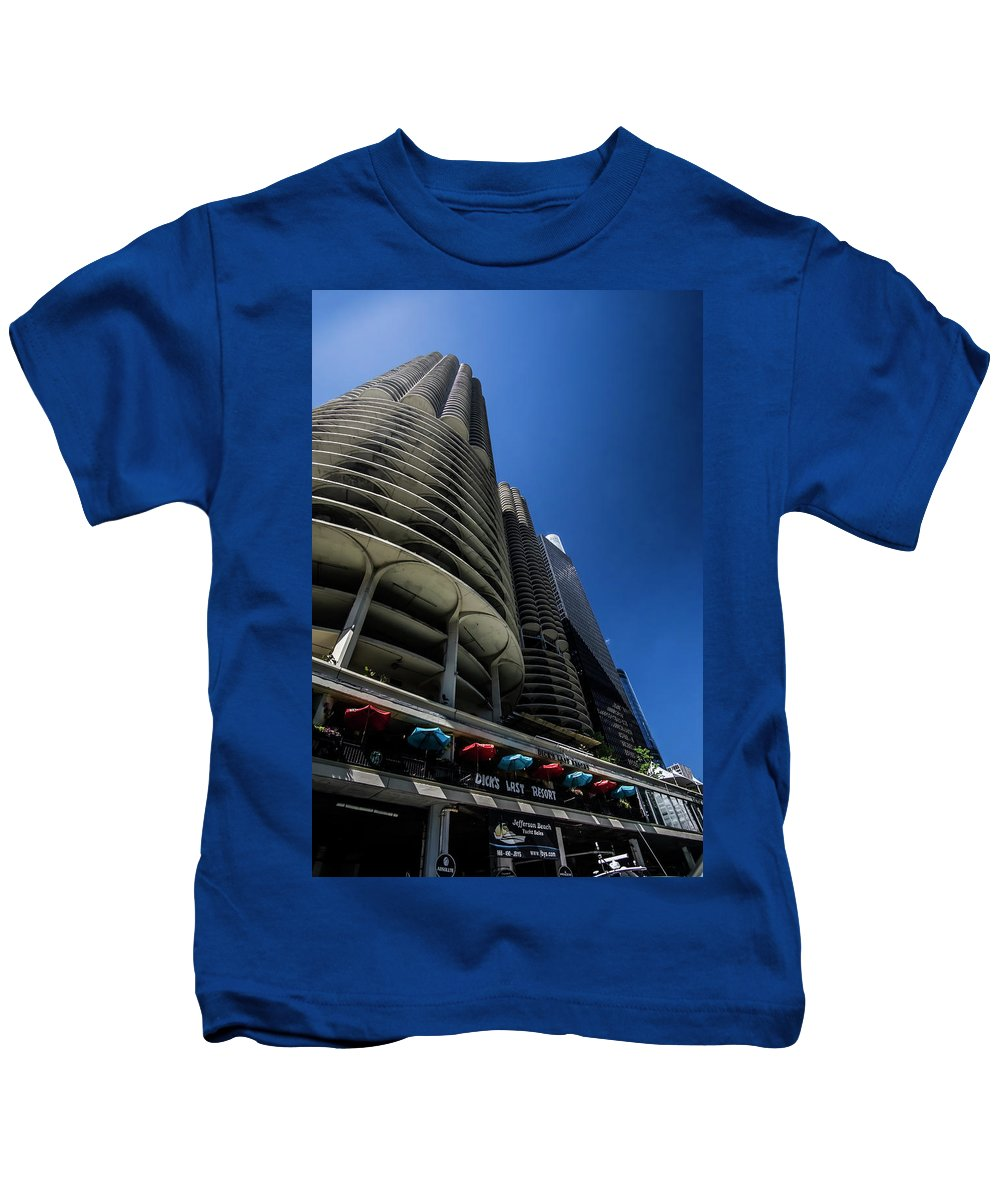 Marina Towers Kids T-Shirt featuring the photograph Looking Up At Chicago's Marina Towers by Sven Brogren