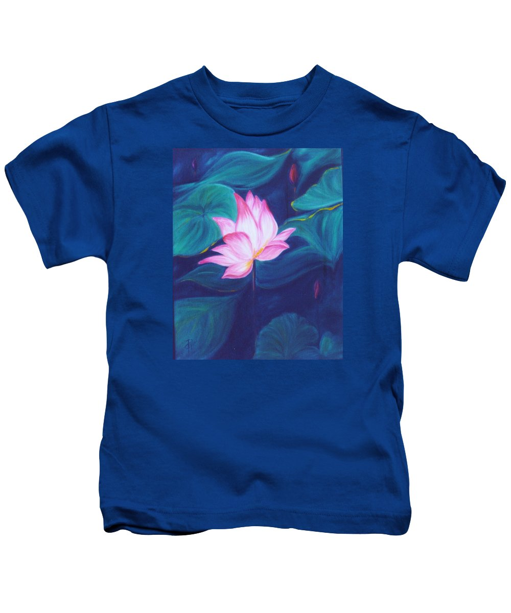 Floral Kids T-Shirt featuring the painting Lotus by Dina Holland