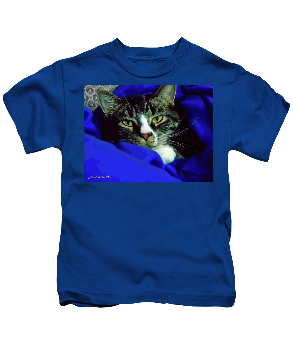 Blanket Kids T-Shirt featuring the digital art Louis And The Snuggy by Joan Minchak