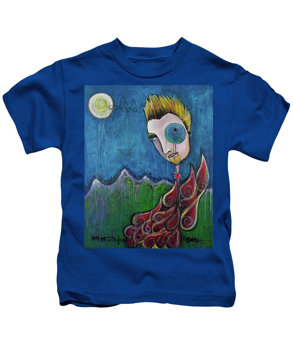 Birdman Kids T-Shirt featuring the painting Love For Birdman by Laurie Maves ART