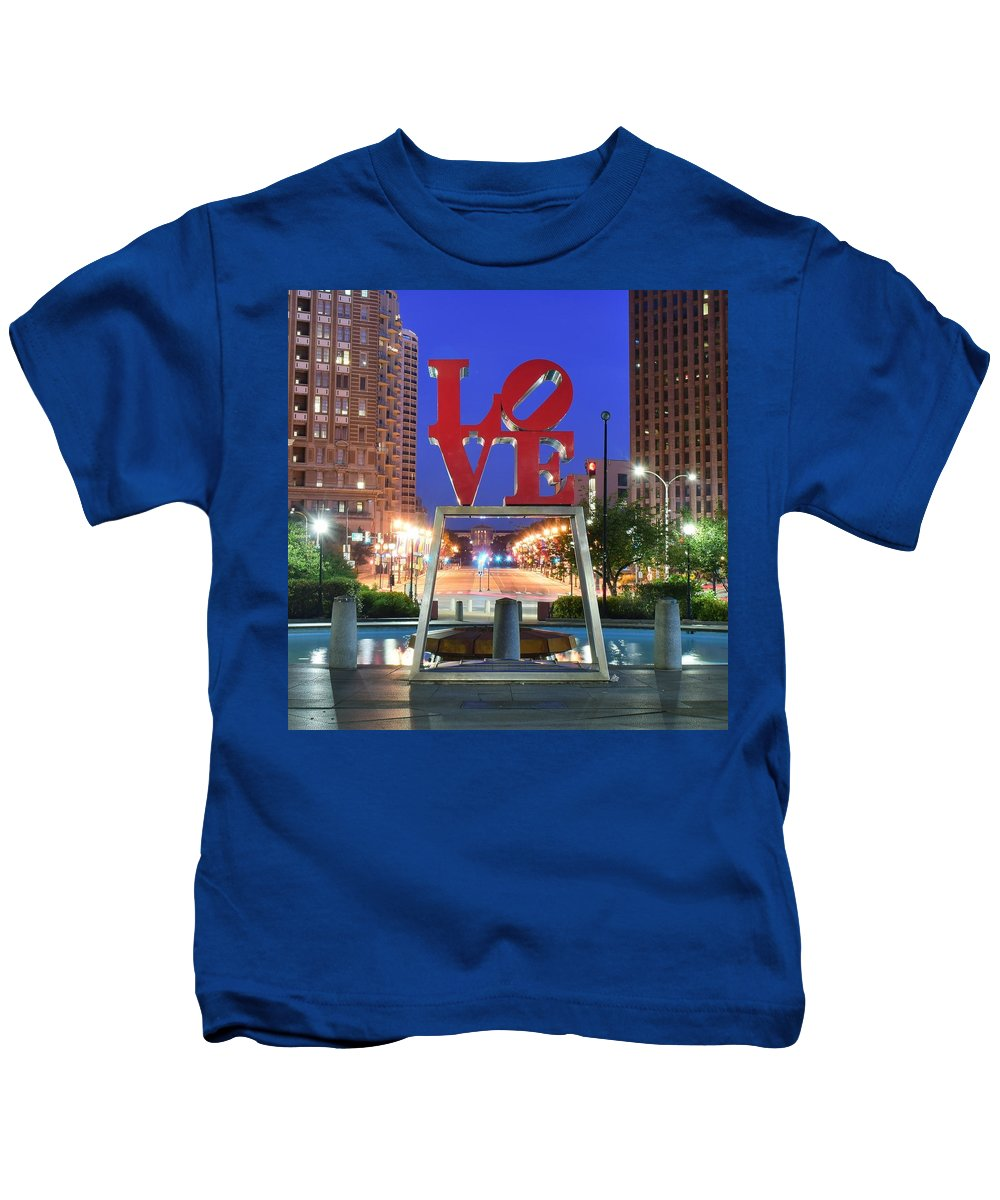 Love Kids T-Shirt featuring the photograph Love In Philly by Skyline Photos of America