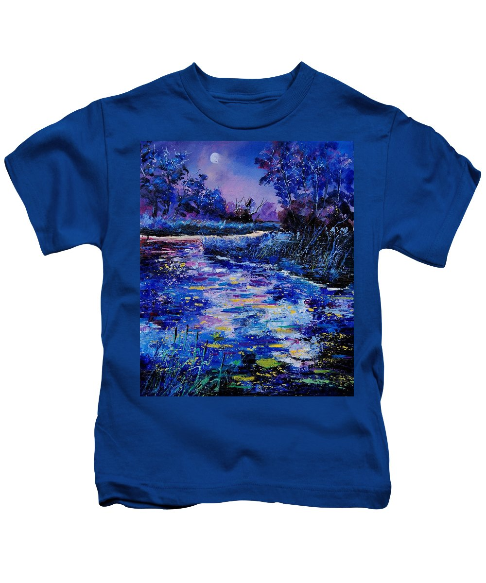 River Kids T-Shirt featuring the painting Magic Pond by Pol Ledent